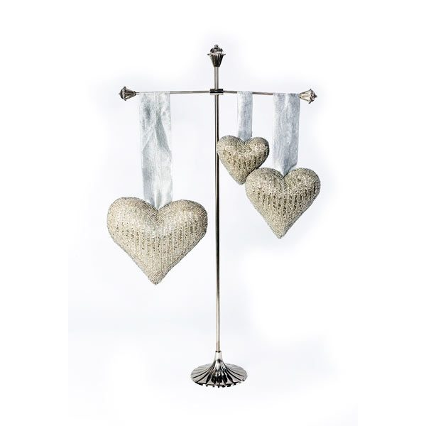 Embroidered Silver Beaded Hearts