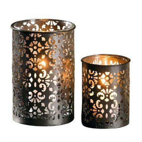 Dark Brown Metal Tealight Candle Holder