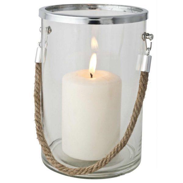 Hurricance Glass Steel Metal Pillar Candle Holder
