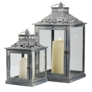 Grey Ornate Vintage Metal Pillar Lanterns Candle Holder