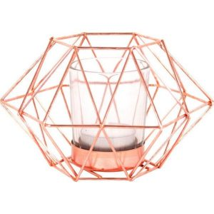 Octagonal Geometric Copper Wire Candle Holder