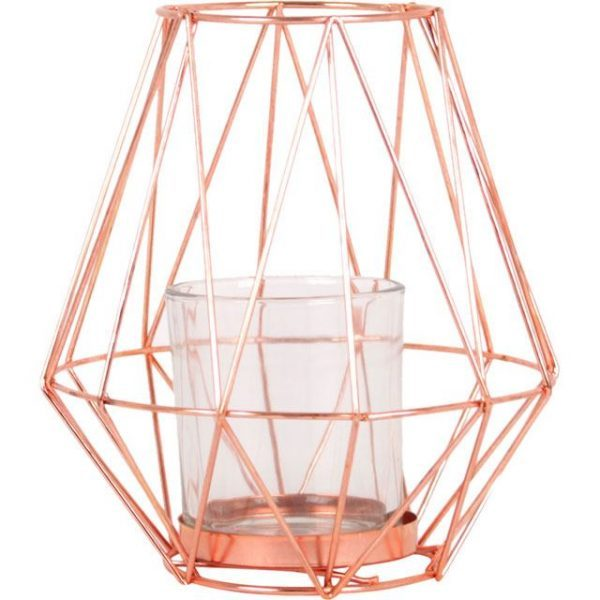 Tall Geometric Copper Wire Candle Holder