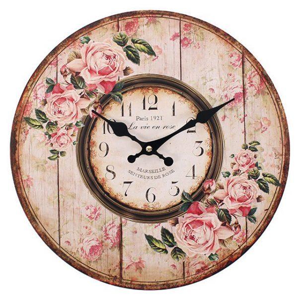 Distressed Look Pink Rose Paris 1921 Wall Clock