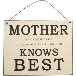 Mother Knows Best Wall Sign