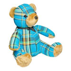 Blue Tartan Teddy Bear Door Stop Plush