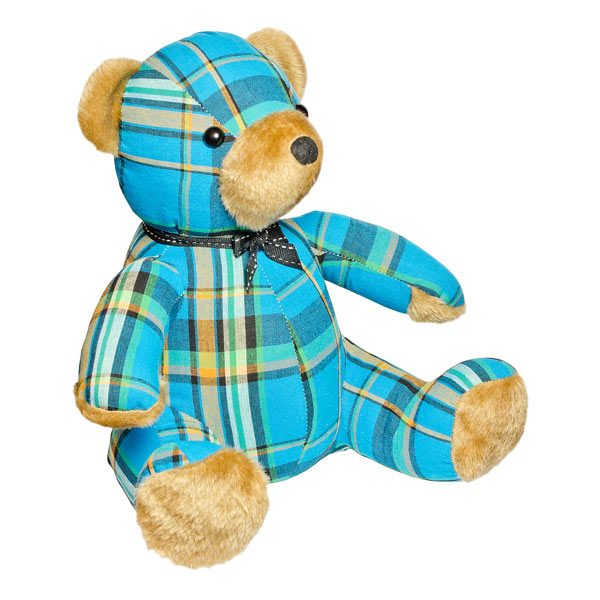 Blue Tartan Teddy Bear Door Stop Plush