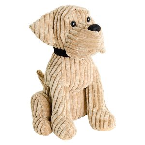Beige Corded Doggy Door Stop Plush
