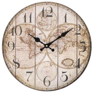 Shabby Chic Vintage Map Wall Clock