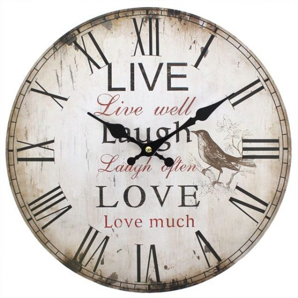 Live Well, Laugh Often, Love Much Wall Clock Rustic Effect