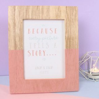 """A little geo moment 🌺🌻 Find this pretty wooden frame that is dipped half pink with the words """"because every picture tells a story on our website. Prefect as a gift or for your home décor. Shop at www.kalaful.co.ke #photoframe #framephoto #familygifts #giftideas #giftideas #gift #pictureframe #kalaful_decor #nairobikenya #framedpicture #homedecorkenya"""